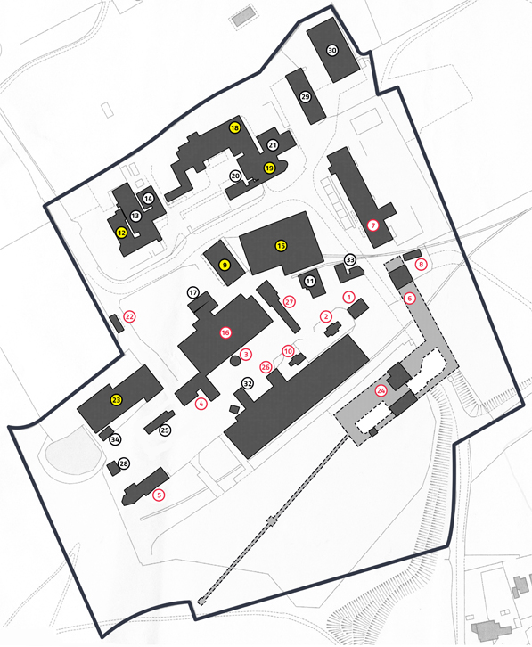 Map of Chatterley Whitfield site with numbered buildings